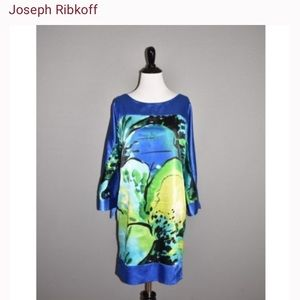 Joseph Ribkoff  blue yellow slit sleeve shift